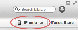 Accessing the iPhone interface in iTunes