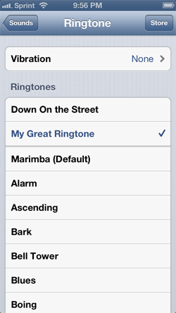 Setting an iPhone ringtone