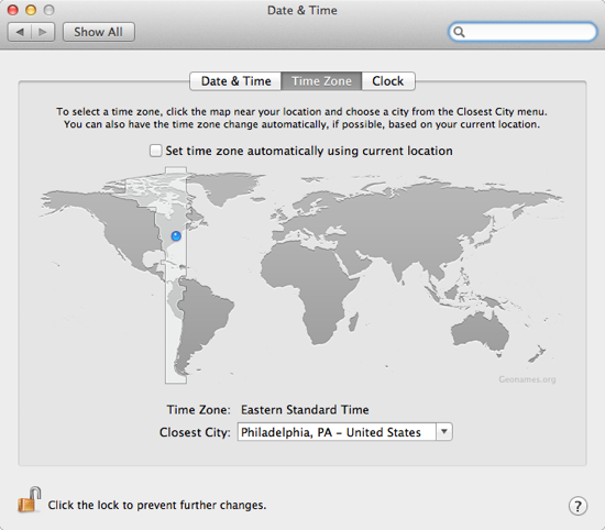 Date & Time Preferences on a Mac