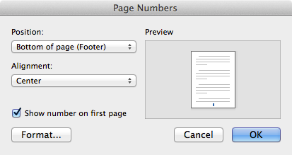Adding page numbers to a Microsoft Word document on your Mac.