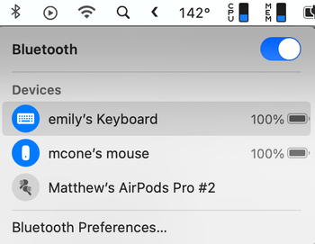 Apple keyboard in Bluetooth menu