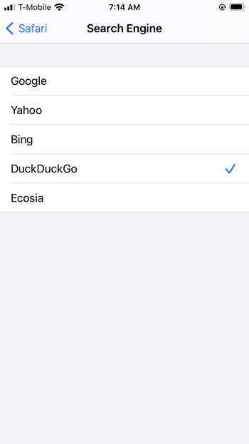 Change the default search engine on iPhone