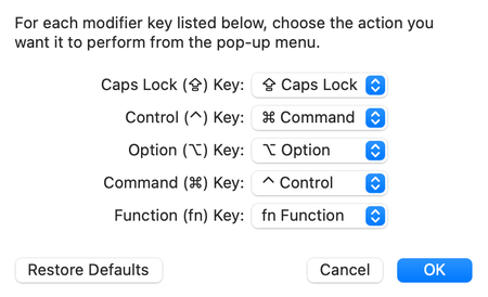 Change the Control and Command keys on your Mac