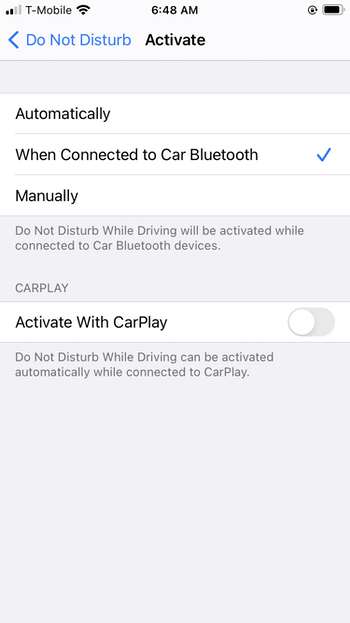 Turn off iPhone notifications while driving