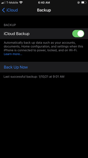 Backing up iPhone to iCloud
