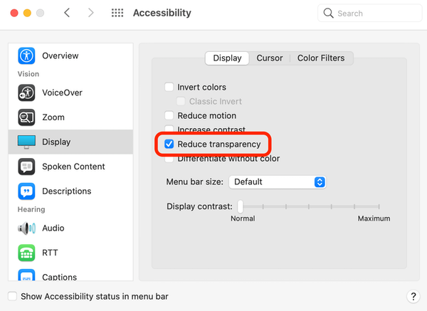 Reduce Mac Menu Bar transparency
