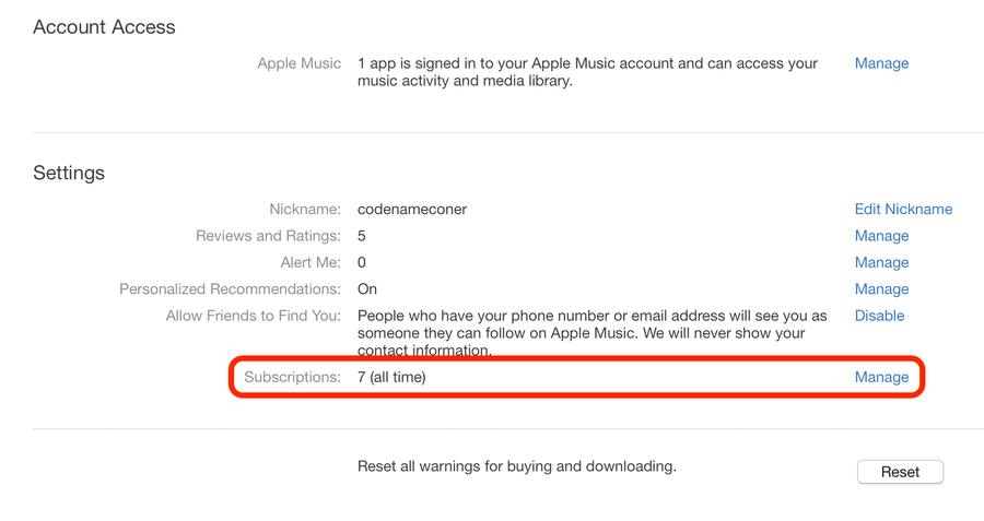 Apple Mac Music account settings