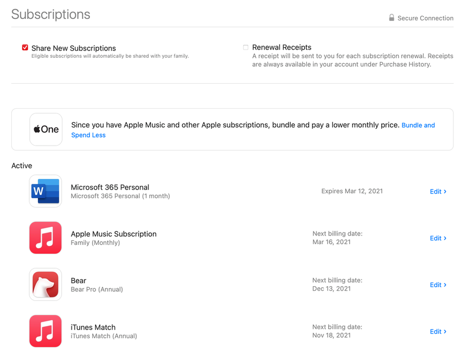 Manage Apple app subscriptions on your Mac
