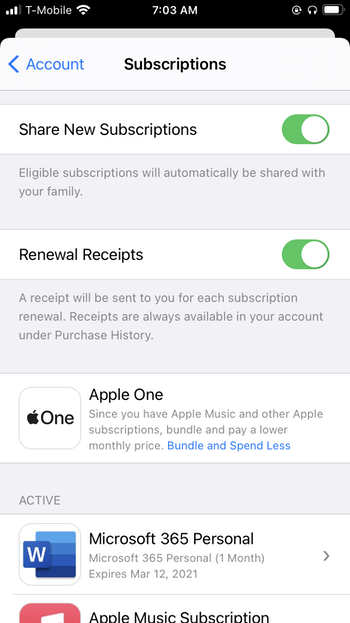Manage Apple app subscriptions on your iPhone