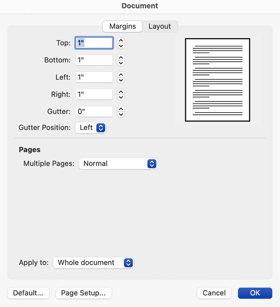 Microsoft Word for Mac document formatting options