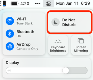 Turn off notifications on a Mac