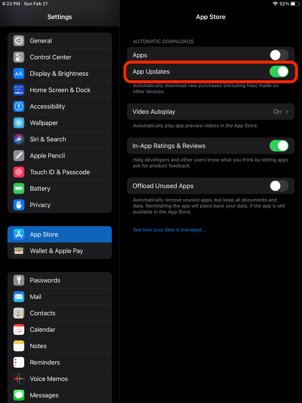 Update apps on your iPad