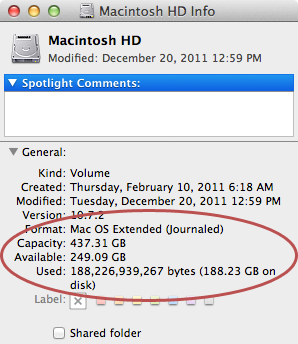 Viewing the Mac's available hard drive space