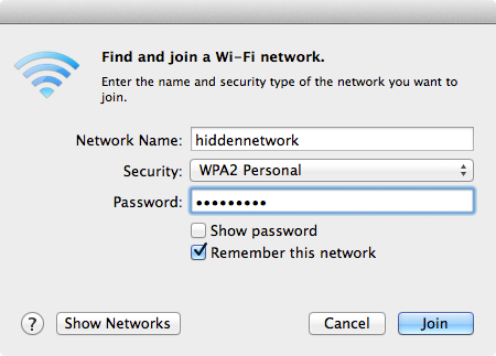 Connecting to a hidden wireless network with a Mac.