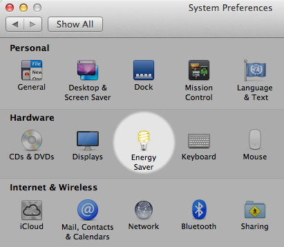 Energy Saver settings in System Preferences