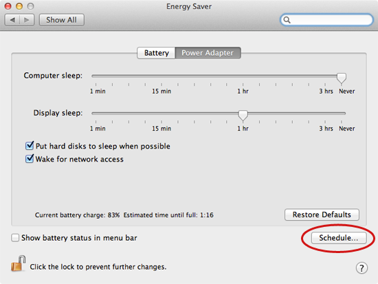 Energy Saver preferences on a Mac