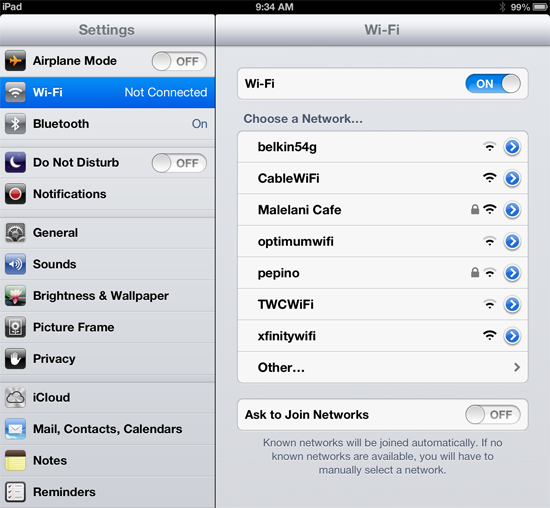iPad wireless network settings