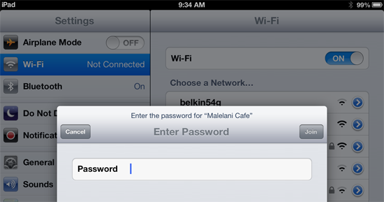 iPad wifi network password