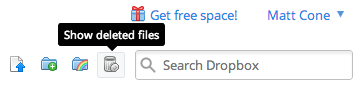 Dropbox's show deleted files option