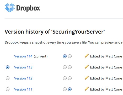 Dropbox file version history