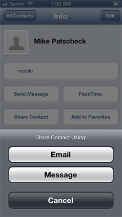 Sharing iPhone contact information