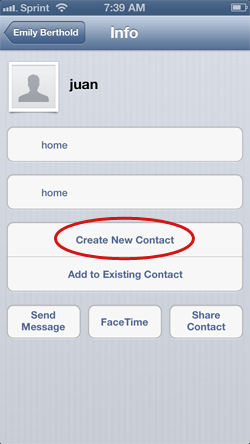Adding sharing contact to iPhone
