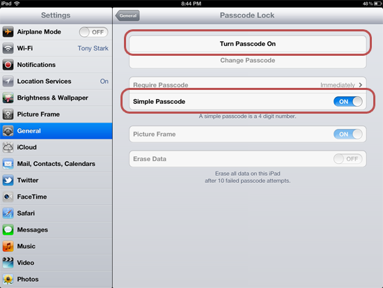 Turning on the passcode for iPad
