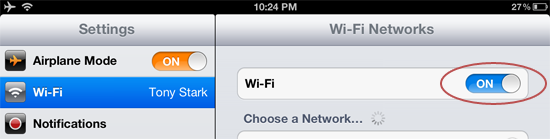 Using iPad Wi-Fi while in airplane mode