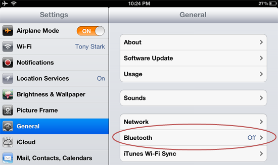 Enabling iPad bluetooth while in airplane mode