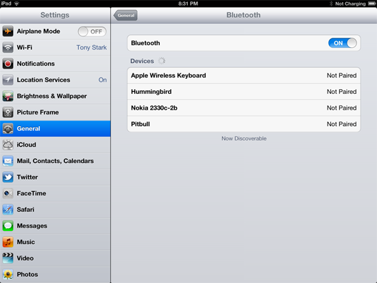 List of Bluetooth devices connected to iPad