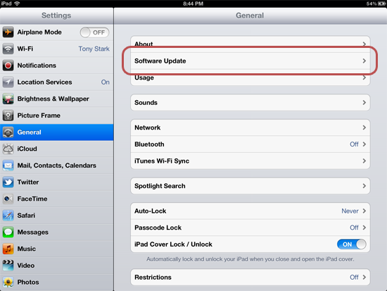 General system preferences on an iPad