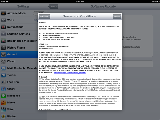 Downloading and installing iOS updates on iPad