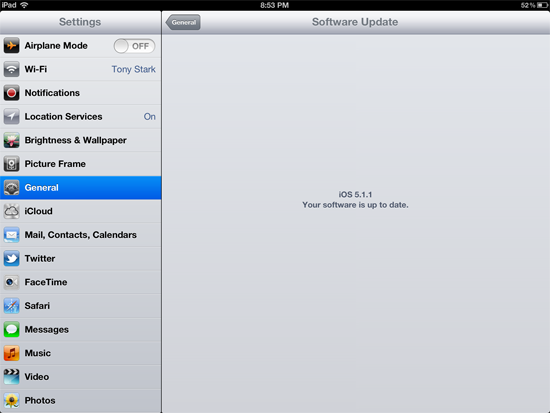 Checking for software updates on iPad