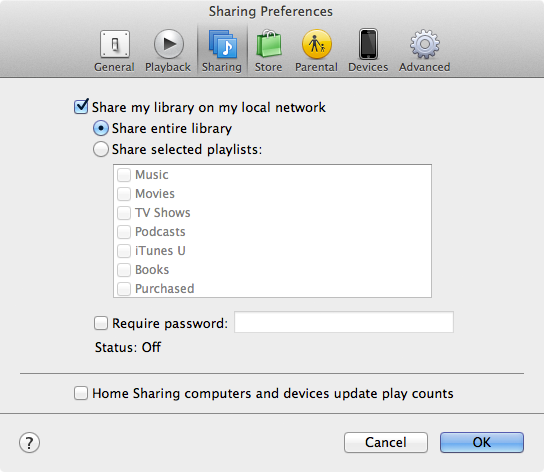 Sharing the iTunes library on a Mac