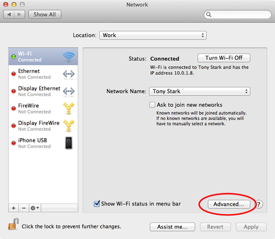 The Mac network system settings