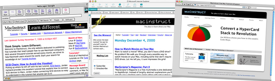 Macinstruct website throughout time
