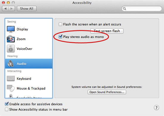 Play stereo audio as mono on your Mac