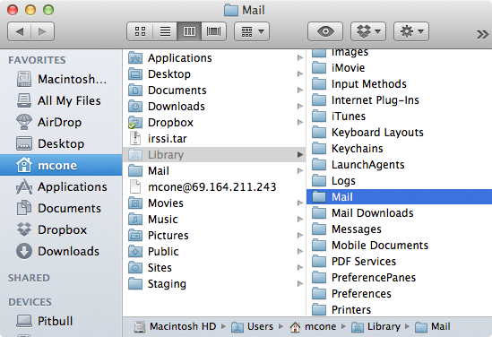 Moving the Mail folder on a Mac