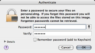 Creating an encrypted disk image on your Mac