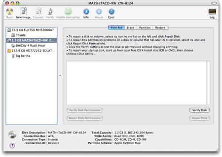 Disk Utility application for Mac