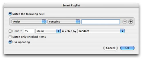 Choose your Smart Playlist's rules