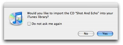iTunes is asking you if you want to import this CD in your iTunes library