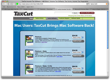 H&R Block's TaxCut application for Mac