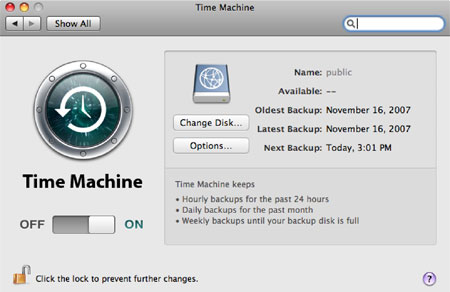 Time Machine settings