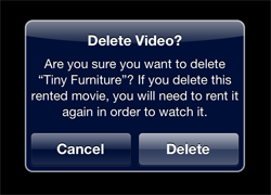 Deleting a video from an iPad