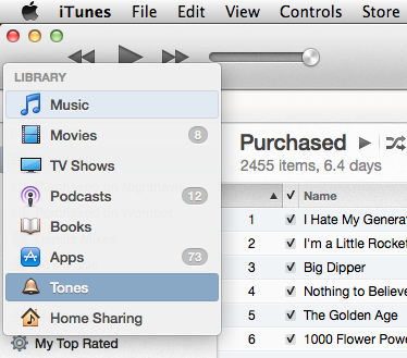 iTunes ringtones library
