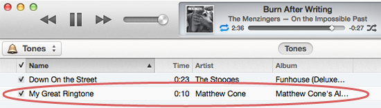 iPhone ringtones stored in iTunes