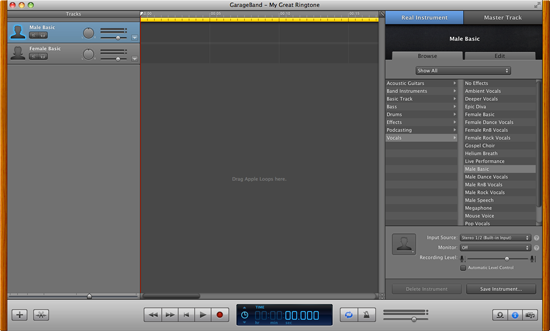 The GarageBand interface