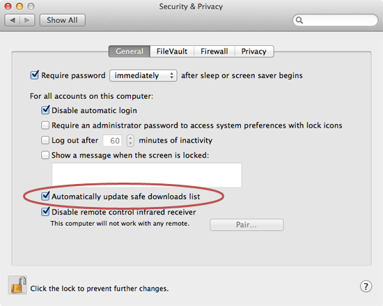 Mac security and privacy settings