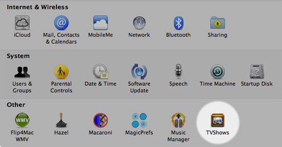 TVShows for Mac settings